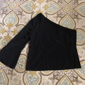 Sexy Black Silky One Shoulder Top Sz L